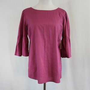 Time and Tru Bell Sleeve Woven Top Women's Small